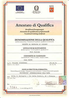 イタリア・トスカーナ州認定絵画修復技師免許