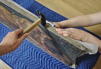 木枠へのキャンバス張り直し