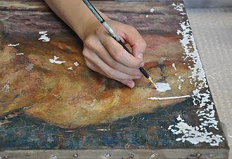 絵具層剥落部分の充填
